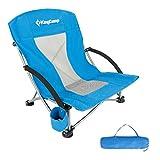 KingCamp Campingstuhl mit Niedrigen Stuhlbeinen und Atmungsaktiver Netzstoffrückenlehne (Blau)