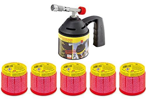 Rothenberger IndustrialLötlampe / Lötbrenner / Bunsenbrenner im Set mit 5 x Gaskartusche C200