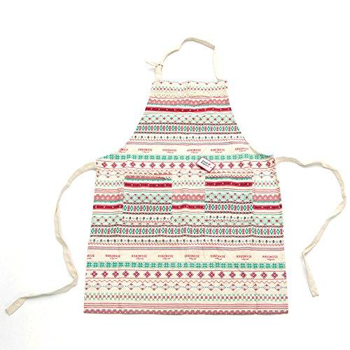 Pink Papaya Schürze, Kochschürze für Frauen und Männer aus 100% Baumwollleinen, Küchenschürze MIA, Farbe: weiß/bunt gestreift mit Spitzenapplikationen