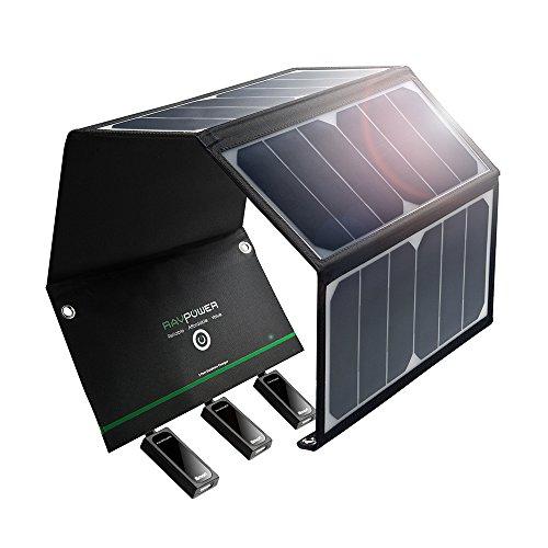 RAVPower 24W Solarladegerät mit 3 USB iSmart-Port (SUNPOWER Solarzellen, 21,5-23,5% Umwandlungseffizienz, leicht, faltbar, wasserdicht) für Camping Wanderung Bergsteigerei für iPhone 6S, 6S Plus, 6, iPad Pro, Samsung Galaxy S7, S7 Edge, HTC, Motorola usw.