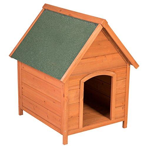 Ribelli Wetterfeste Hundehütte aus Braunem Tannenholz mit grünem Spitzdach - Hundehaus Hundehöhle mit Abnehmbarem Dach, ca. 66 x 82,5 x 74 cm