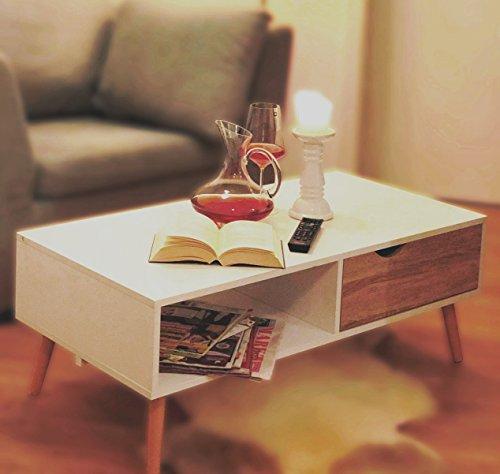 SKANDINAVISCHER COUCHTISCH WEIß | Modern Eiche | Sofatisch Tisch Lofttisch ~vds