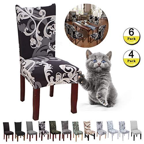 JunYito Stuhlhussen 4er 6er Elastische Set Stuhlhussen Universal Stretchhusse Stuhlbezug Stretch für Stuhl Esszimmer (E-Schwarz/Braune Blume, 6 Stücke)