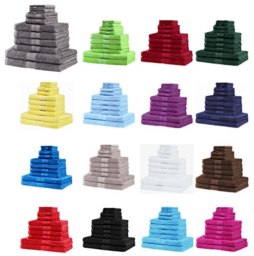NatureMark 10 tlg. Frottier Handtuch-Set verschiedene Größen 4x Handtücher, 2x Duschtücher, 2x Gästetücher, 2x Waschhandschuhe - PREMIUM Qualität (10 tlg. Frottier Set, Apfel grün)