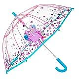Einhorn Kinder Schirm für Mädchen - Stockschirm mit Sicherheitsöffnung - Robuster und Windfester Regenschirm mit Transparenter Kuppel - 3 bis 6 Jahre - Durchmesser 64 cm - Perletti Cool Kids