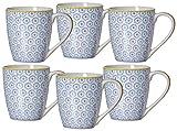 Ritzenhoff & Breker Set Macara, 6-teilig, 360 ml, Blau Kaffeebecher, Porzellan, 13 x 9 x 10 cm, 6-Einheiten