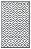 Green Decore Wendbarer Öko-Teppich aus recyceltem Kunststoff (Plastik) für Innen und Außen / Federleicht - 90 x 150 cm Grau / weiß