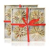COM-FOUR 24-teiliges Strohsterne Set, Weihnachtsbaumschmuck, Weihnachtsbaumdeko, Ø 10 cm (24-teilig - 10 cm)