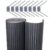 SONGMICS PVC Sichtschutzmatte Grau (90 x 500 cm) Sichtschutz für Garten Balkon und Terrasse GPF095GV1