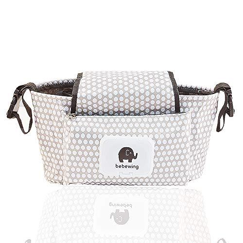 Kinderwagen Organizer, Universale Kinderwagentasche/Kinderwagen-Zubehör und Buggy Organizer Tasche, Weiße Punkte