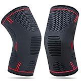 YUECHAO 2 x Kniebandage für Damen & Männer | Zum Schutz von Meniskus & Knie | Elastische atmungsaktiv Knieschoner mit Kompression für mehr Stabilität beim Sport und im Alltag | Knieschützer