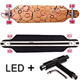 FunTomia Longboard Skateboard Drop Through Cruiser Komplettboard mit Mach1 ABEC-11 High Speed Kugellager T-Tool (Modell Freerider2 - Farbe Phrase mit LED Rollen + T-Tool)