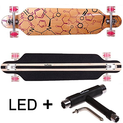 FunTomia Longboard Skateboard Drop Through Cruiser Komplettboard mit Mach1 ABEC-11 High Speed Kugellager T-Tool (Modell Freerider2 - Farbe Phrase mit LED Rollen + T-Tool)