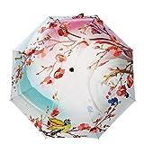 New Double Layer Stabiler Haltbarkeit Inverted Regenschirm-gerades Rod wasserdicht winddicht UV-Schutz für Geschenk (chinesische Art) , pink , 54cm radius *8 bone