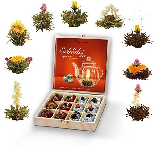 Creano Teeblumen Geschenkset in Teekiste aus Holz, 12 ErblühTee in 9 Sorten   Weißtee & Schwarztee