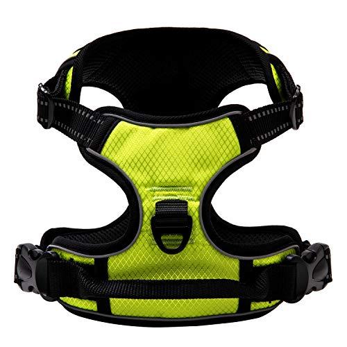 Qklovly Hundegeschirr No Pull Reflektierende Geschirr für Kleine Mittelgroße Große Hunde Verstellbares Sicherheitsgeschirr Wasserfest Gasdurchlässig Gelbgrün M