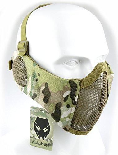 Worldshopping4u Taktische halbe Gesichtsmaske, für Airsoft, Schutz für untere Gesichtshälfte, Geflecht, Nylon, mit Ohrschutz, MC