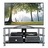 1home GT5 LCD-/Plasma-TV Rack Glas Tisch Ständer LCD Rack LED Tisch Fernsehtisch Schwarz Glas drei Ablagen 37 -42 Zoll