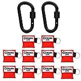 Gimars 10 Stücke CPR Maske mit Karabinerhaken CPR Mask RESPI-Key Beatmungsmaske Schlüsselanhänger Beatmungshilfe Notfalltuch Taschenmaske Erste Hilfe