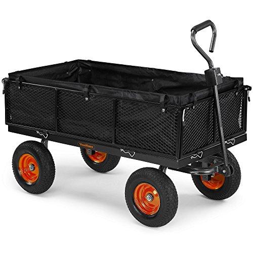 VonHaus 600 kg Gitterwagen / Gartenwagen / Handwagen mit Innenverkleidung – robuster vierrädriger DIY Gerätewagen