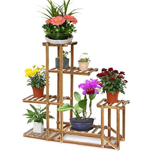 MalayasBlumenregal Blumen Rack aus Massivholz mit mehr Pflanzentreppe für Innen-Balkon Wohzimmer Outdoor Garten Dekor Blumenständer 96x95x25cm Braun