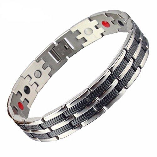 SSC Magnet Armband Edelstahl | silber poliert / schwarz | Magnetarmband (2000+ Gauss) | antiallergener Schmuck (316L Chirurgenstahl) | Ideal als Geschenk (SSC-225)