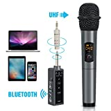 TONOR Bluetooth Wireless Mikrofon, 10 Kanal UHF Handmikrofon Karaoke Singing Mic mit Mini FM Empfänger, kompatibel mit Lautsprecher / Handy / IPAD / Laptop für Hochzeiten / Kirche / Bühne / Party (UHF Bluetooth 2)