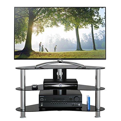 1home GT7 LCD-/Plasma-TV Rack Glas Tisch Ständer LCD Rack LED Tisch Fernsehtisch Schwarz Glas drei Ablagen 26 - 42 Zoll