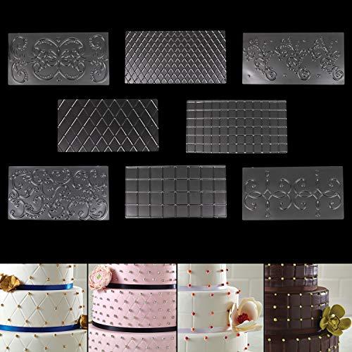 Prägematte Strukturmatte Torten Fondant 8 Stk (30,5cm x 16cm) 2x Rauten, 2x Quadrate, 4x Blumen Design Transparente Schablonen für Kuchen Formen Kuchen Deko Schokolade Torten Form Tortendeko Molds