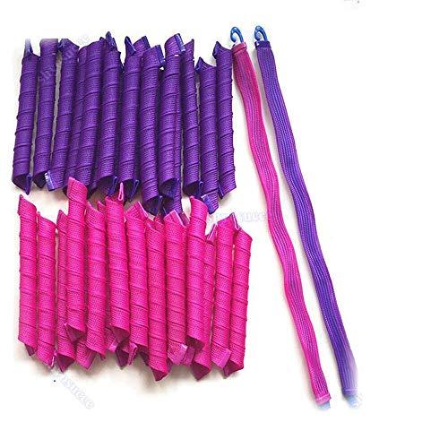 Haar Curler für Frauen aus Silikon - Kunststoff Lockenwickler mit Stab in Pink und Lila (40 Stück)