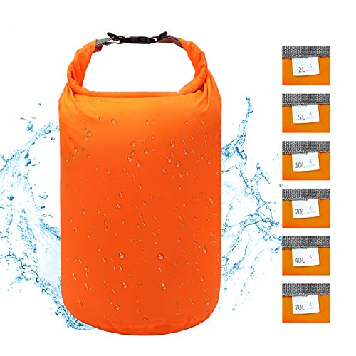 iOutdoor Products Dry Bag Leicht Wasserfester Stausack 2L / 5L / 10L / 20L / 40L / 70L Trockener Kompressionssack, Abriebfest, Reißfest, Langlebig, Leicht für Reisen/Camping/Schlafsack