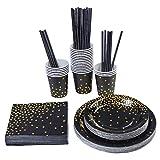 Aneco 146 Stück Schwarz mit Goldfolie Party Supplies Einweg-Partygeschirr Set für Abschlussfeier, Party, für 24 Gäste schwarz