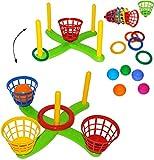 XL Set _ Wurfspiel - ' UMBAUBAR ' - Ringwurfspiel & Ballwurfspiel - aus Kunststoff / Plastik - incl. 5 Stück Wurfringe - Ringe - Innen & Außen - Outdoor - Kinder & Erwachsene - Wurfspiel - Motorikspiel - Motorik - für Mädchen Jungen - Ringwerfspiel - Ringe - Draußen / Gartenspiel - Wurfringen - werfen & zielen - Sportspiel / Bewegungsspiel - Zielkreuz / Ringspiel - Zielscheibe - Werfspiel - Spielset