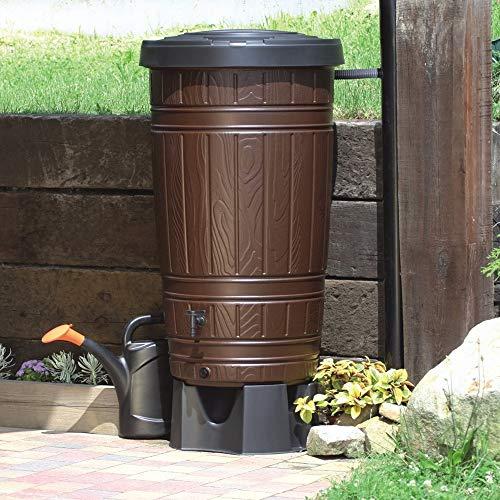 Regenwassertonne Regentonne Regenbehälter Regentank Amphore 265L 2 Farben Wasserhahn wählbar (Braun)