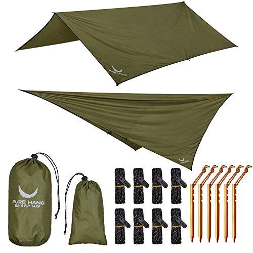 PURE HANG Premium Tarp 3x3 für Hängematte Outdoor Zelt-Plane Sonnensegel Strand 100% Wasserdicht Ultra-Leicht Sonnenschutz UV Schutz Regenschutz Camping Backpacking