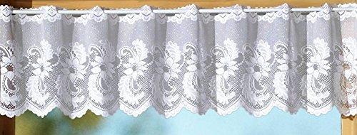 Gardine Scheibengardine als Set mit handgebogter Blumen Bordüre aus edlem Jacquard - Ökotex …auspacken, aufhängen, fertig! Vorhang Typ72