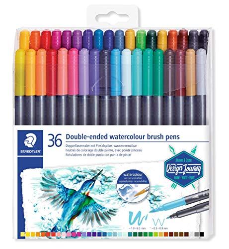 STAEDTLER 3001 TB36 Duo Fasermaler (feine Spitze und Pinselspitze, für Aquarell-Effekte) Klarfaltetui mit 36 brillanten Farben