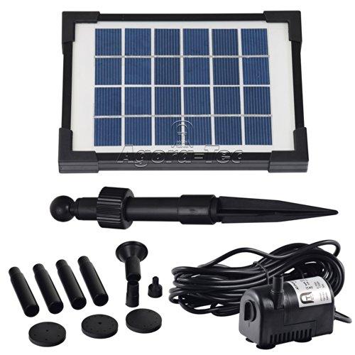 Agora-Tec AT-2W Solar Teichpumpe 2 Watt Hmax.: 170l/h Fontainenhöhe: 0,65m für Gartenteich oder Springbrunnen