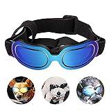 PEDOMUS Hunde Sonnenbrille Verstellbarer Riemen UV-Sonnenbrillen Wasserdicht Winddicht Schutz für kleine Hunde Blau