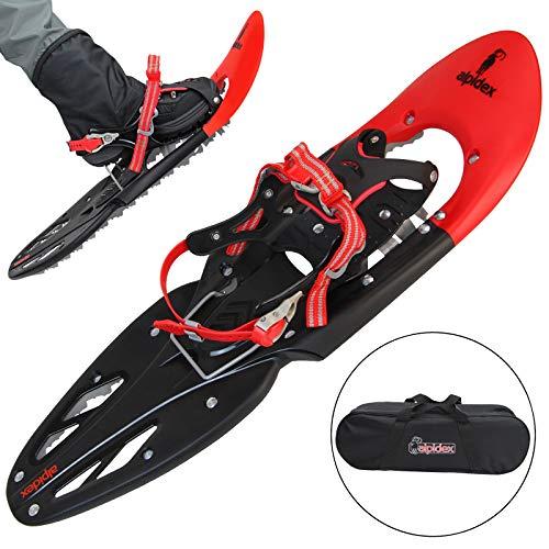 ALPIDEX Schneeschuhe 29 INCH für Schuhgröße 35-45, bis 120 kg, mit Double-Traction Bindung und inklusive Tragetasche - wahlweise mit oder ohne Stöcke erhältlich, Farbe:Red ohne Stöcke