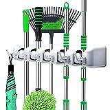 Puaida Besenhalter, Wand Gerätehalter mit 5 Schnellspannern und 6 Haken, perfekt Mop Besen Ordnungsleiste für Gartenwerkzeug Küche Badezimmer Garage