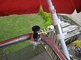 1 Stück - Balkonschirmhalterung mit 11 + 6 cm Abstands Schirmhalter - Holly patentiert - für BEFESTIGUNG an runden oder eckigen Elementen von 25 bis 42 mm mit 5 - fach verstellbare MULTI - Halterung 360 ° DREHBAR MIT GUMMISCHUTZKAPPEN zur kratzfreien BEFESTIGUNG - INNOVATIONEN MADE in GERMANY - Holly Produkte STABIELO - holly-sunshade  - Bei SCHIRMEN über 2,50 cm Ø - 2 Halterungen oder 2-te Befestigung verwenden aus Sicherheitsgründen (Kabelbinder)
