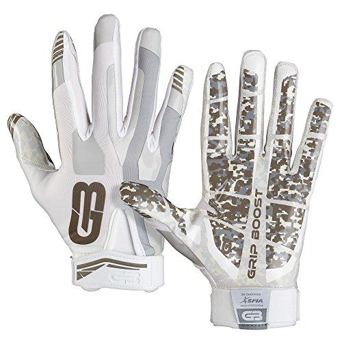 GRIP BOOST Stealth Fußball Handschuhe Pro Elite (White, Large)