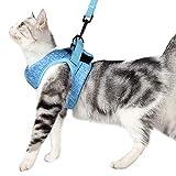Katzengeschirr und Leine Set mit ultraleichtem Kätzchenhalsband, weich und bequem, Laufjacke, Laufdämpfung, entweichsicher, geeignet für Welpen, Kaninchen mit kationischem Stoff