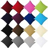 Buymax - 2er Pack Jersey Kissenbezüge mit Reißverschluss aus 100% Baumwolle Kissenbezug Kissenhülle Set viele Größen und Farben Öko Tex, 80x80cm Braun Taupe