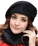 Demarkt Elegant Damen Baskenmütze Damenmütze Blumen im Herbst und Winter warme Mütze Filzhut (Schwarz)