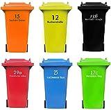 Personalisierter MÜLLTONNENAUFKLEBER mit HAUSNUMMER und STRAßENNAMEN | senden Sie uns Ihre Vorgaben, wir fertigen Ihren individuelle Mülltonnen Sticker, wetterfest, UV-beständig