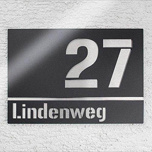 Metzler-Trade Hausnummer aus Edelstahl - Anthrazit RAL 7016 - Schild mit Nummer und Straßenname - inkl. Gravur-Service - Befestigungsmaterial optional wählbar - rostfrei & witterungsbeständig - Größe: 25 x 17,5 cm