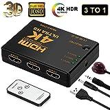 HDMI Switch 4K, FAERSI 3 Ports Full HD 1080P HDMI Umschalter Splitter Unterstützung 4K@30Hz/2K/1080P/3D mit IR Fernbedienung 3 Eingang 1 Ausgang