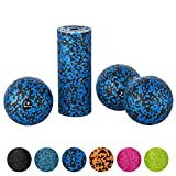 BODYMATE Faszien Mini-Set Schwarz-Blau - Mini-Faszien-Rolle L15xD6cm, Ball D8cm und Duo-Ball D8cm im Set